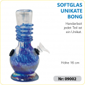 Glas Bong UNIKAT Spiegelglas blau ca 16cm