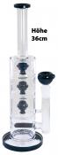 Designer Glas Bong Höhe ca 36cm klar-schwarz
