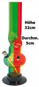 Plexi Percolator Bong in den Rasta Farben ca 32cm