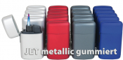 NEW-KOMPAKT-JET Feuerzeug Metallic gummiert
