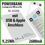 TekMee Powerbank superflach mit USB und Apple Anschluss