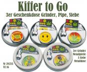 Geschenkdose 3erSet Grinder - Pfeife  - Siebe  Kiffer to Go