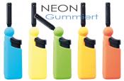 Klapp-Anzünder mini BBQ Leichtdrücker Neon gummiert