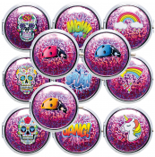 Taschenascher Chrom mit Glittermotiven