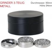 Grinder Metall schwarz 3-teilig 50mm Kompakt