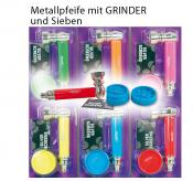 Metallpfeife ca 8cm mit Grinder und Sieben